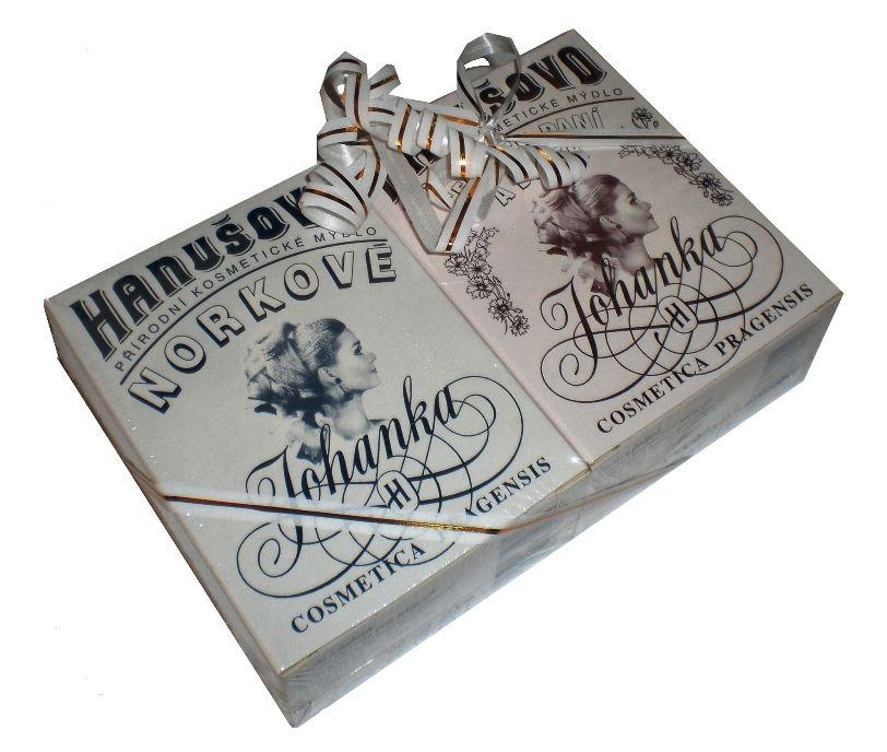 Hanušovo mýdlo dárkový balíček dvou kusů 2x 100g Norkové a Českých paní a dívek For Merco