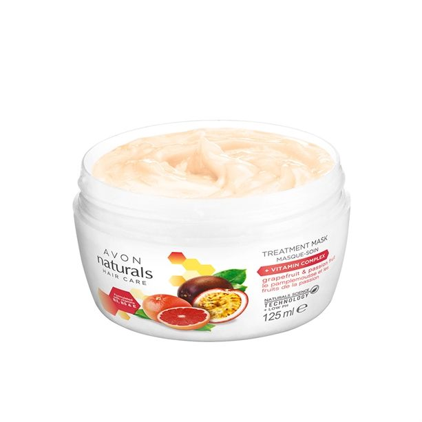 Naturals maska na vlasy s grapefruitem a marakujou pro poškozené a barvené vlasy -: 125 ml Avon