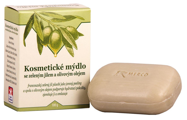 Kosmetické mýdlo se zeleným jílem a olivovým olejem -: 100g For Merco