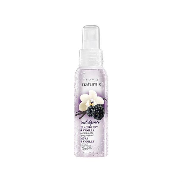 Tělový sprej s vůní ostružin a vanilky 100ml sladká kompozice krémové vanilky Avon