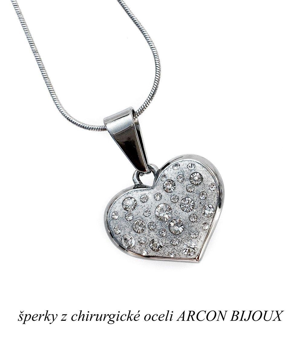 Řetízek a Přívěsek Srdce z chirurgické oceli ARCON BIJOUX