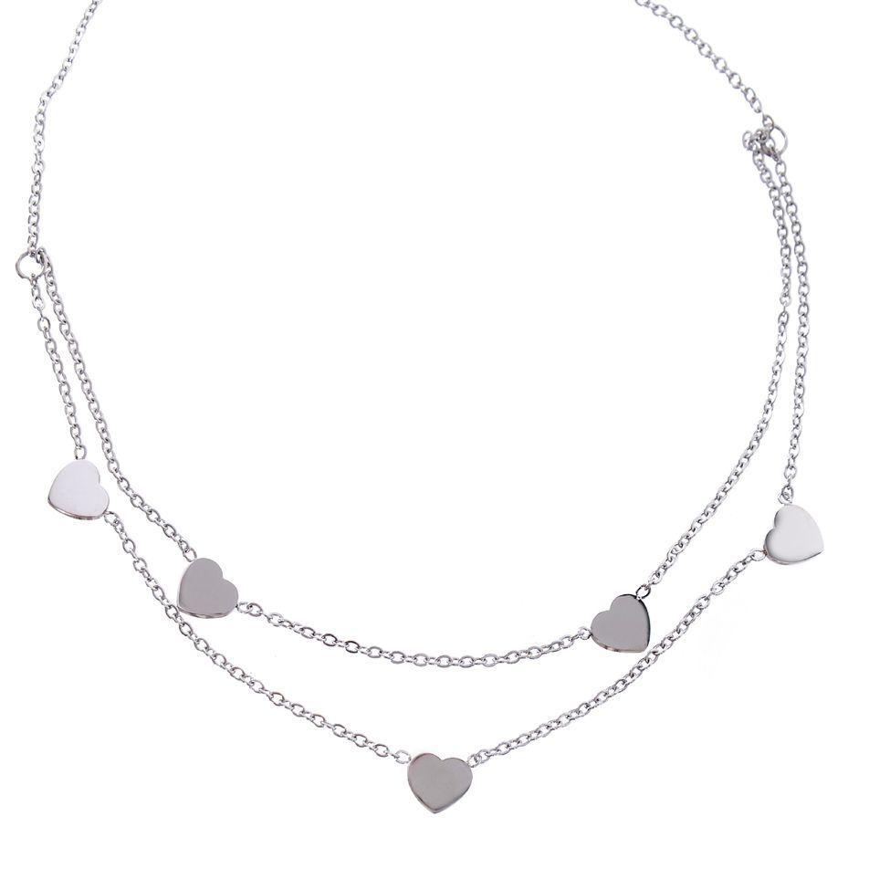 Řetízkový náhrdelník Srdíčka z chirurgické oceli ARCON BIJOUX