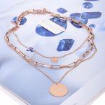 Řetízky z růžové chirurgické oceli s placičkou - chirurgická ocel růžová ARCON BIJOUX